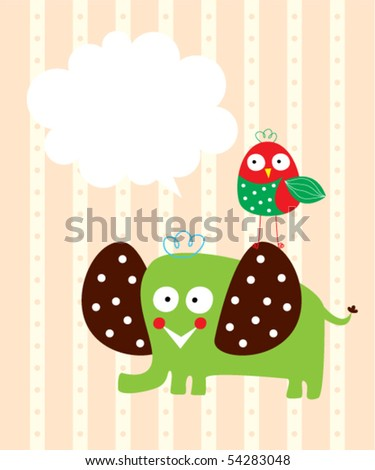 cute elephant and bird greeting card