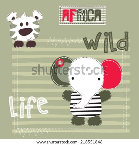 cute elephant and tiger vector illustration - stock vector