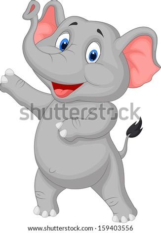 Cute elephant cartoon presenting - stock vector
