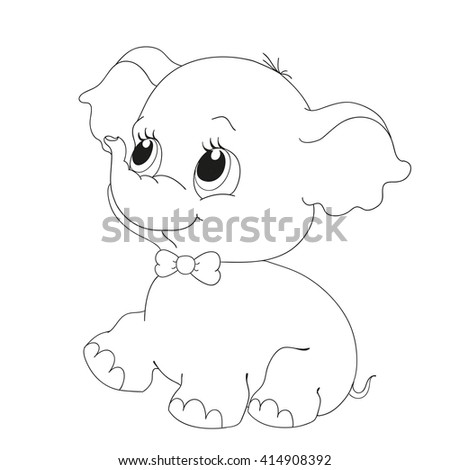 Cute elephant character. Coloring book vector