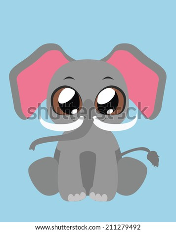Cute Elephant flat illustration art - stock vector