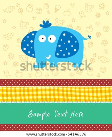 cute elephant greeting card - stock vector