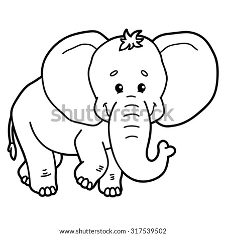 Cute elephant. Vector illustration of cute cartoon elephant character for children, coloring and scrap book - stock vector