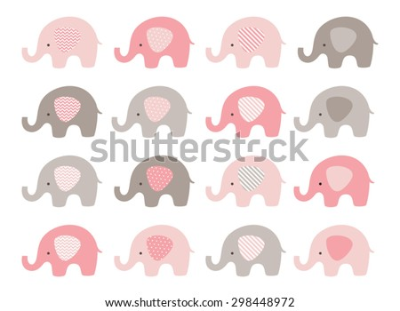 Cute elephant vector set - stock vector