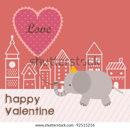 Cute Elephant Walking with a Love Ballon in City. Happy Valentine Design. - stock vector
