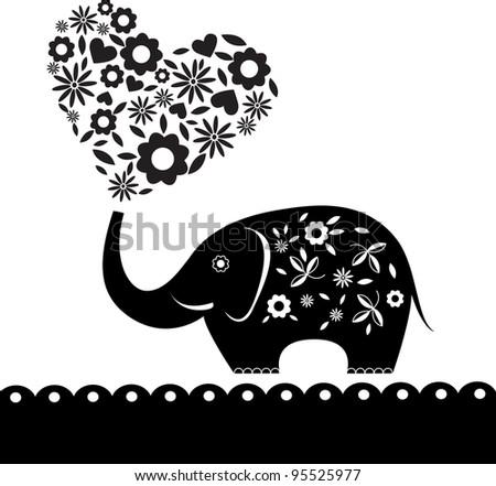 cute elephant with flowers. Heart card. Vector illustration. - stock vector