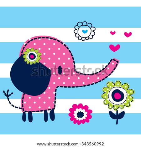 cute elephant with flowers on striped background vector illustration - stock vector