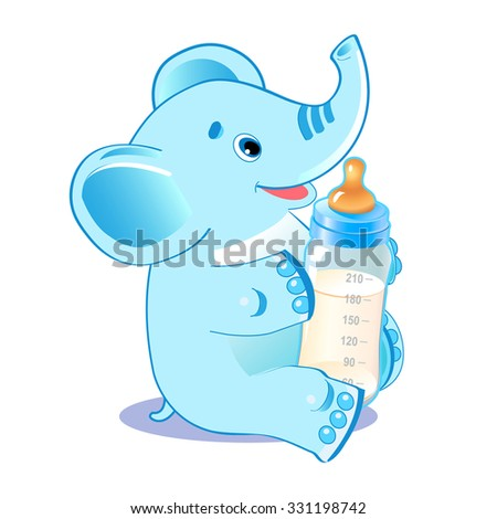 Cute elephant with milk bottle. Welcome baby boy. Vector illustration. - stock vector