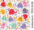 cute elephants, birds & flowers pattern - stock photo
