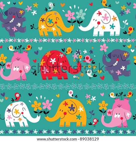 cute elephants pattern - stock vector