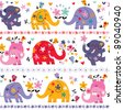 cute elephants seamless pattern - stock photo