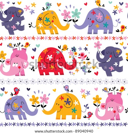 cute elephants seamless pattern - stock vector
