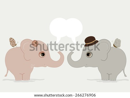 Cute elephants with speech bubble - stock vector