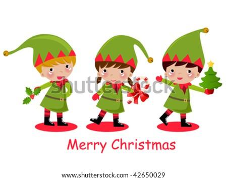 cute elf - stock vector