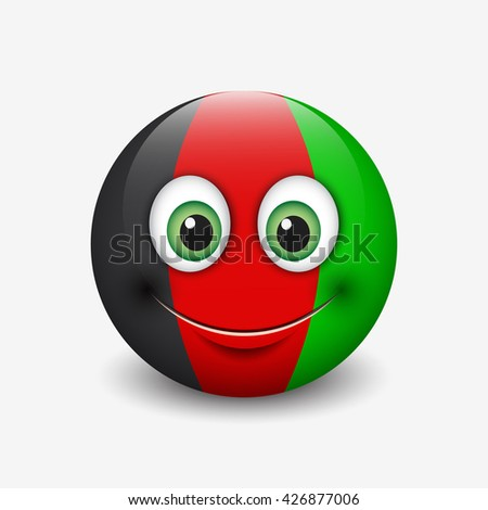 Cute emoticon isolated on white background with Afghanistan flag motive - smiley - vector illustration