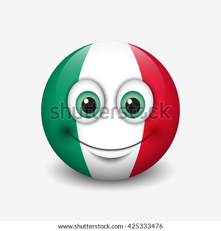 Cute emoticon isolated on white background with Italy and Mexico flag motive - smiley -  vector illustration - stock vector