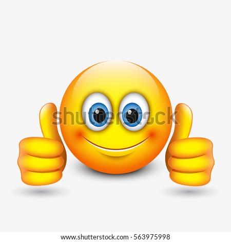cute emoticon thumbs up emoji vector stock vector 563975998