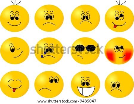 Cute emoticons - stock vector