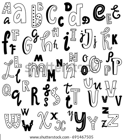 Cute English Hand Written Alphabet Vintage Vector Font Lowercase And Uppercase Letters Fine