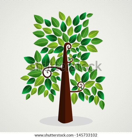 Cute environment green tree leaf background. Vector file layered for easy manipulation and custom coloring.   - stock vector