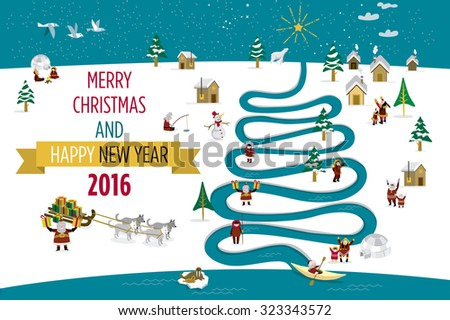 Cute eskimos characters celebrating Christmas and New Year 2016 holidays in little snowy village with a river in tree form. - stock vector