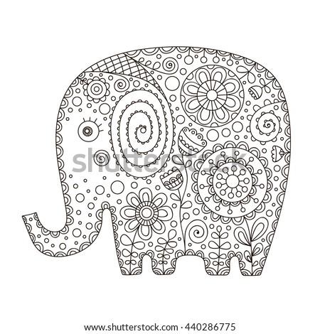 Cute Ethnic Elephant Vector Hand Drawn Stock Vector