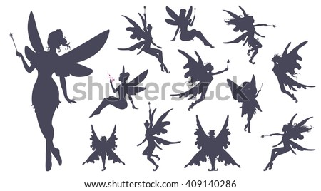 Cute Fairies silhouette collection, Little fairies set. Hand drawn vector illustration. - stock vector