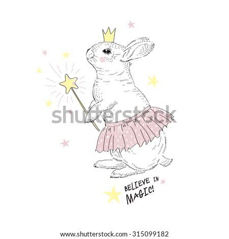 cute fairy bunny girl, hand drawn graphic, kid print - stock vector