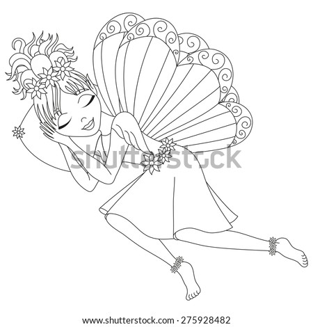 Cute fairy in dress with wings is sleeping on pillow, vector illustration, coloring book page for children - stock vector