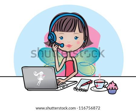 Cute fairy secretary taking a call. - stock vector