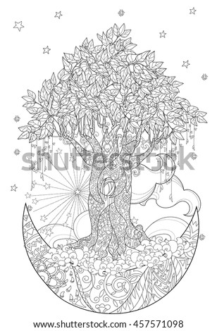 Cute Fairy Tale Tree From Magic Forest On Christmas Half Moon With Stars And Flowers