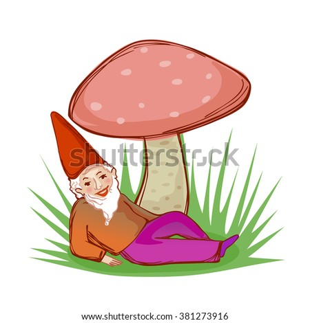 cute fairytale dwarf resting under a big mushroom - stock vector