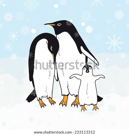 Cute family penguins, vector illustration - stock vector