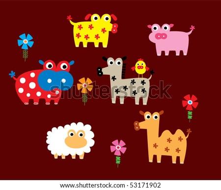 cute farm animal doodle - stock vector