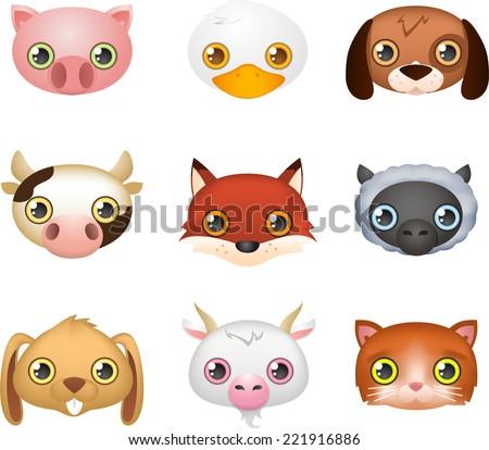 Cute farm animal faces like: Fox, Dog, Duck, Cow, Rabbit, Goat, Sheep, Pig and Lamb vector illustration. - stock vector