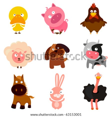 cute farm animals - stock vector