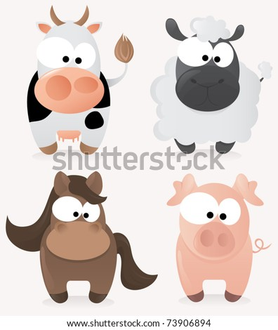 Cute farm animals set - stock vector