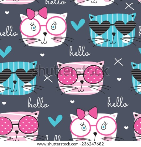 cute fashion cat pattern vector illustration - stock vector