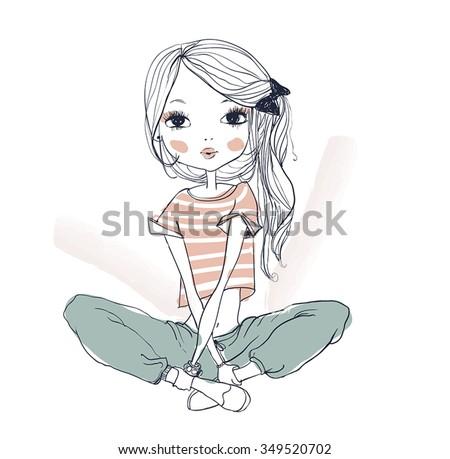 cute fashion girl - stock vector
