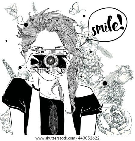 cute fashion girl in sketchy style with camera - stock vector