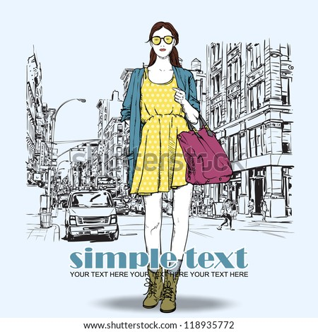 Cute fashion girl on a street background. Hand drawn vector illustration. - stock vector