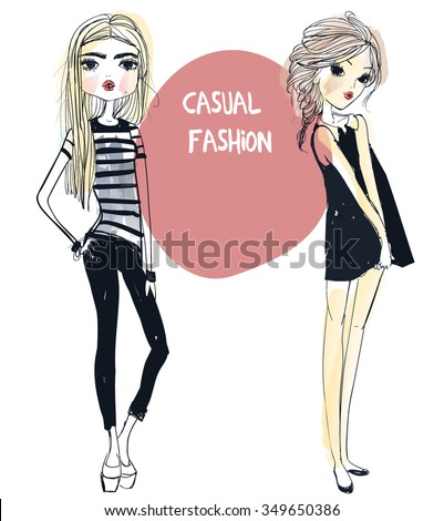 cute fashion girls - stock vector