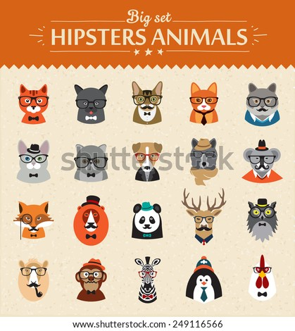 Cute fashion Hipster  Animals  of vector icons large set illustrator vector modern concept of flat design - stock vector