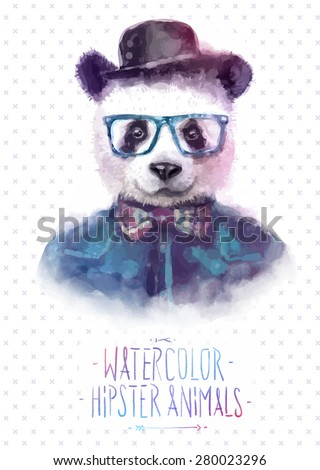 Cute fashion Hipster Animals & pets red panda, set of vector icons bear portrait. Vector illustration - stock vector