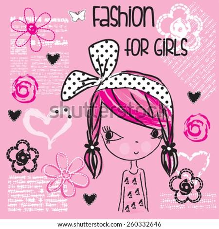 cute fashionable girl, T-shirt design vector illustration - stock vector