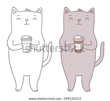 Cute fat cat holding coffee cup. Adorable animal vector clip art. - stock vector