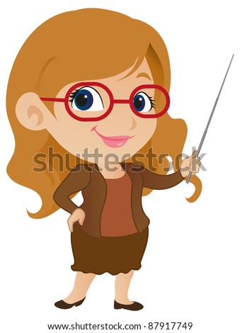 Cute Female Teacher - stock vector