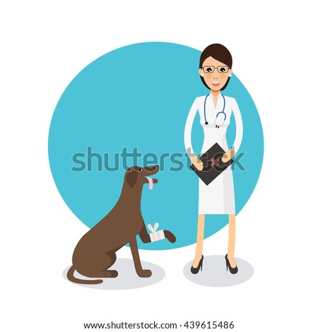Cute female veterinarian doctor with dog. Veterinary concept colorful icon on light blue background. Vector character  illustration in flat style