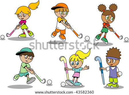 Cartoon Field Hockey Player by Ron Leishman  Toon Vectors