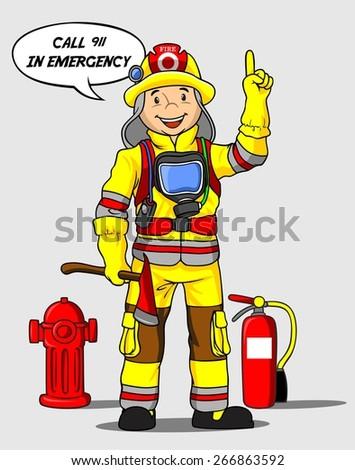 Cute firefighter vector illustration - stock vector